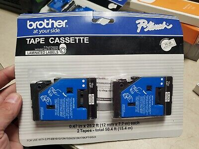 Brother P-touch Tc-20 2 Pack 12 Black On Clear Laminated Tape Cassette Genuine