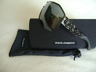 NEW AUTH DOLCE & GABBANA SUNGLASSES DG 2150-B WRAP STYLE IN BLACK / BLACK CRYST