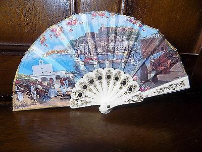 COLLECTABLE vintage mini IBIZA souvenir folding hand fan