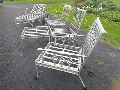 Vintage Cast Aluminum Patio Chairs Lounge High End And Extravagant Set