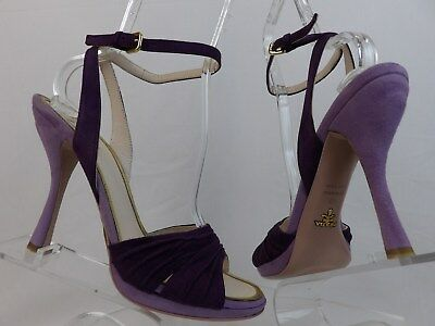 Ruched Platform Pump (NIB PRADA PURPLE TWO TONE RUCHED SUEDE BUCKLE STRAP PLATFORM SANDALS PUMPS 40)