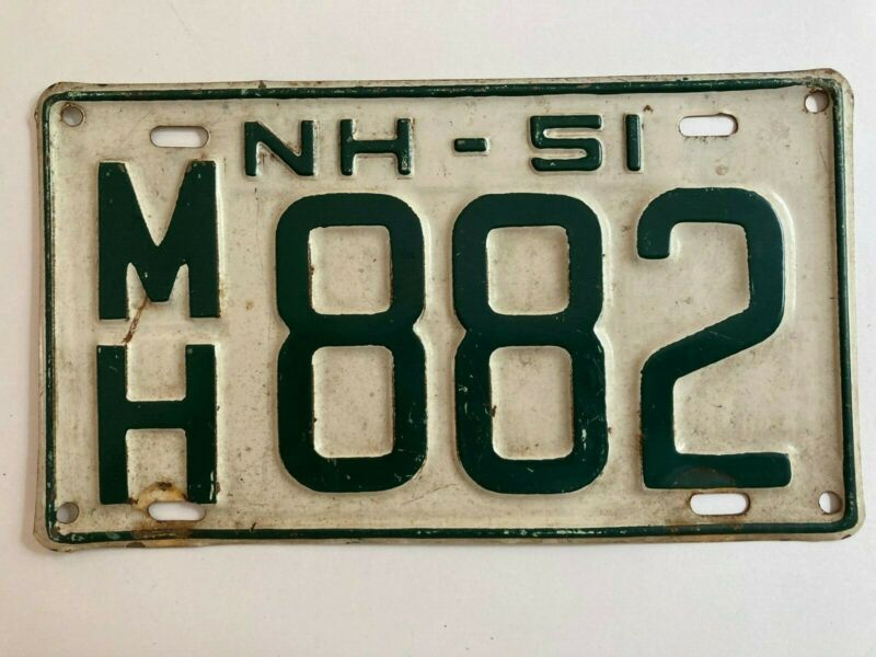 1951 New Hampshire License Plate All Original