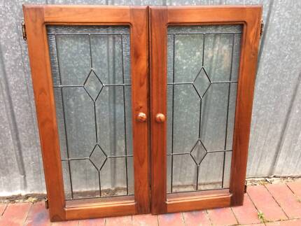Pair of framed glass cabinet doors & FREE - TIMBER WINDOW and DOOR FRAME | Building Materials | Gumtree ...