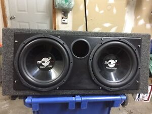 12 inch Planet Audio subwoofers in ported box