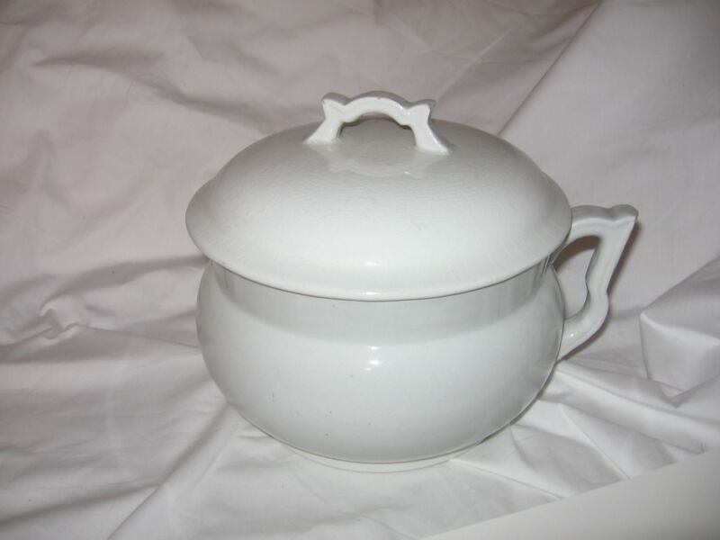 Antique Stoneware Chamber Pot With Handle & Lid Marked