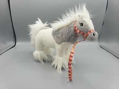 "White & Gray Horse Plush Stuffed Animal with Lead 8"" x 9"""