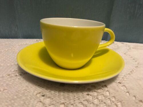 POOLE ENGLAND MID CENTURY MODERN VINTAGE RETRO 1950S LEMON YELLOW CUP & SAUCER