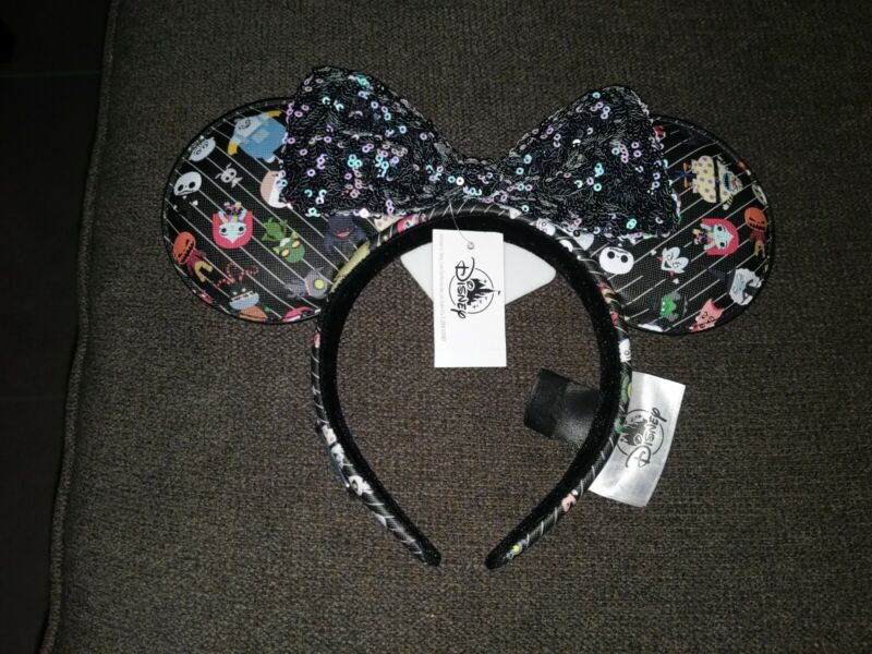 Disney Parks Loungefly Nightmare Before Christmas Mouse Ears Bow Headband - NEW
