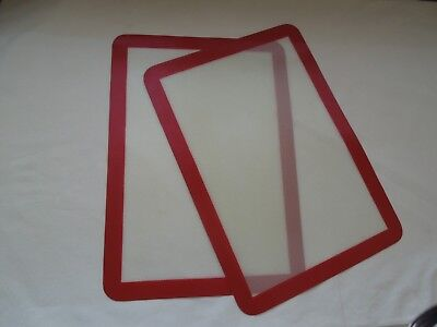 2 ea. 11 1/2 X 16 3/4 silicon non stick baking/cooking mats, red and white