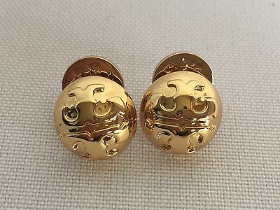 NWT Tory Burch Domed Logo 16k Gold Plated Women Stud Earrings