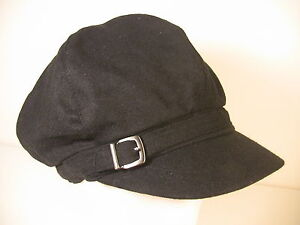 Nine West Womens Newsboy Cap Black Poly Wool Hat Metal Buckle NWT Adult Size $28