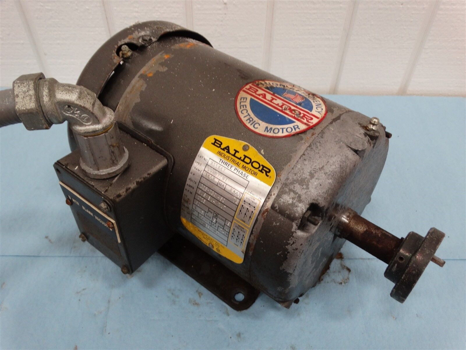 Baldor M3546T Electric Motor Ser F, 1HP, 208-230/460V, 1725RPM, 3-Phase, FR: 56C