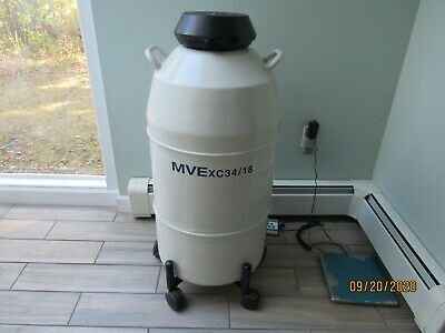Mve Xc 3418 Cryogenic Storage Ln2 Dewar Tank With Roller Base 3 Cannisters