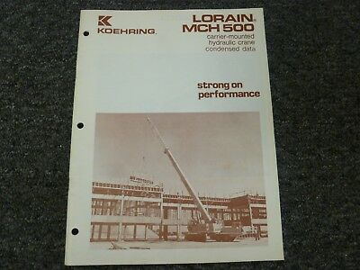 Koehring Lorain Mch-500 Crane Specifications Lifting Capacities Manual