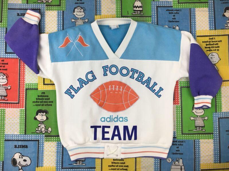 Rare Vintage 80s ADIDAS FLAG FOOTBALL TEAM sweatshirt color block pastel retro