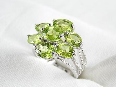 (Genuine Peridot 7 Stone Ring 4.93ct 925 Sterling Silver Size 6 )