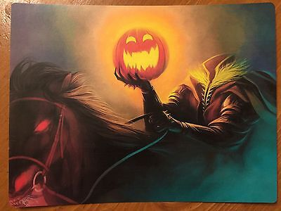 Tin Sign Vintage Halloween Headless Horseman Holding Pumpkin