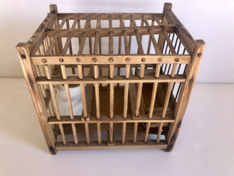 Coal Miners Vintage Bird Cage Wood & Metal Bars Pottery Water Jug