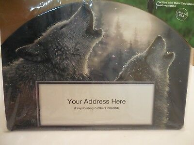 Yard Sign Magnet Wild Wolves Howl at Moon, Wolf, Mountains, Woods, Winter, Snow