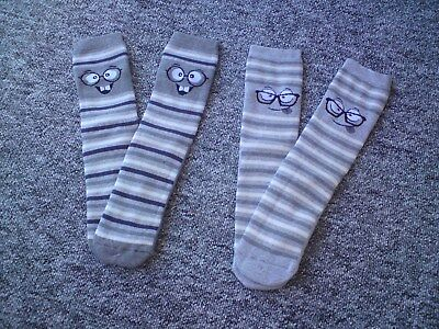 Thermo Socken mit ABS Druck * Grau gestreift mit Gesicht 35 38 *° Neu