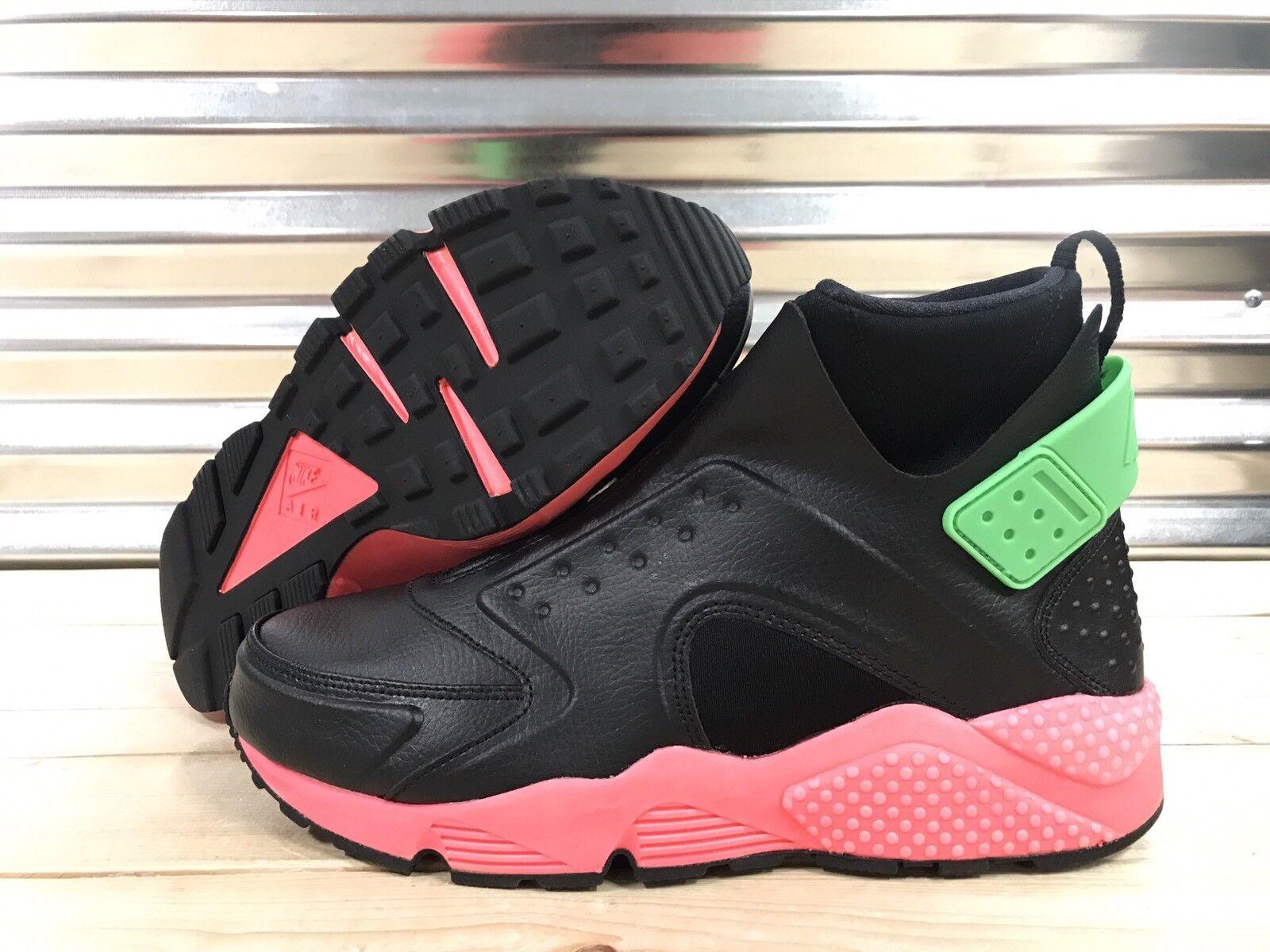 brand new 05121 e76f9 WMNS Nike Air Huarache Run Mid Black Trainers Hot Punch SZ 11 ( 807313-003 )