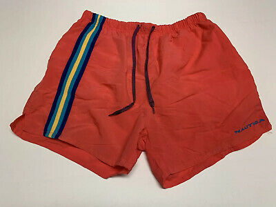 Mens Vintage Nautica Swim Trunks XL Orange