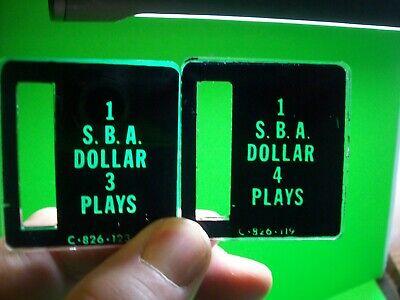 SBA Coin Pinball Machine C-826-123 C-826-119 Bally Stern Plastic Coin Plates #6