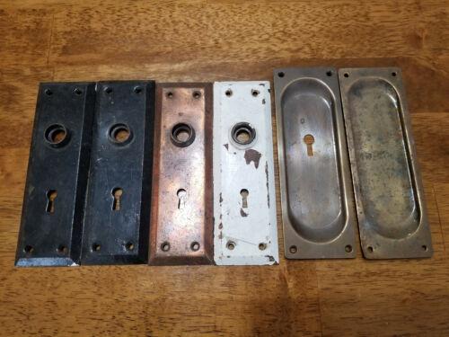 Antique Plain Steel Back Plate & Pocket Door Pull Lot
