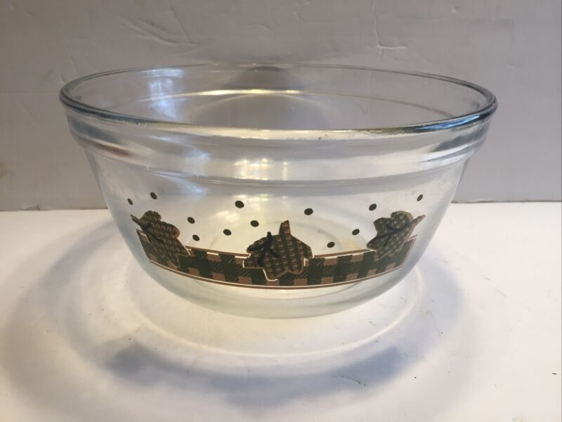 Anchor Hocking Clear Plaid Green leaf Mixing Bowl 2.5Qt USA 1058