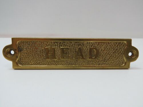"""1+1/4 x 5+1/2 Inch Aluminum Plated With Brass """"HEAD"""" Sign -(B5C292)"""