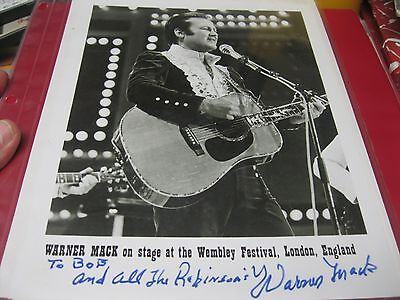 """WARNER MACK Autographed 8"""" x10"""" Photo, COUNTRY MUSIC STAR"""
