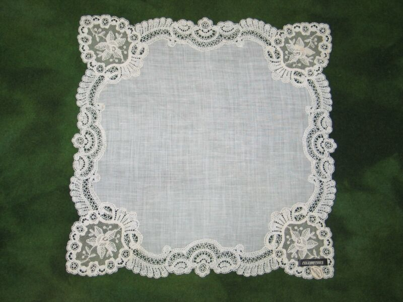 NOS Antique Mixed-Bobbin Embroidered Lace Handkerchief Vintage Hanky~Bridal-