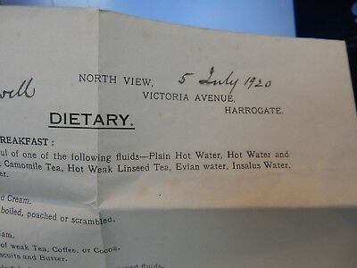 harrogate  j liddell DIETARY SHEET  1920S ART DECO ERA  SPECIAL DIET !! MEDICAL