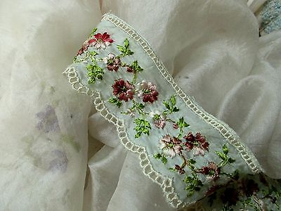 ANTIQUE EDWARDIAN FRENCH LUSH TINY EMBROIDERY FLOWER TISSUE SILK ICE GREEN TRIM