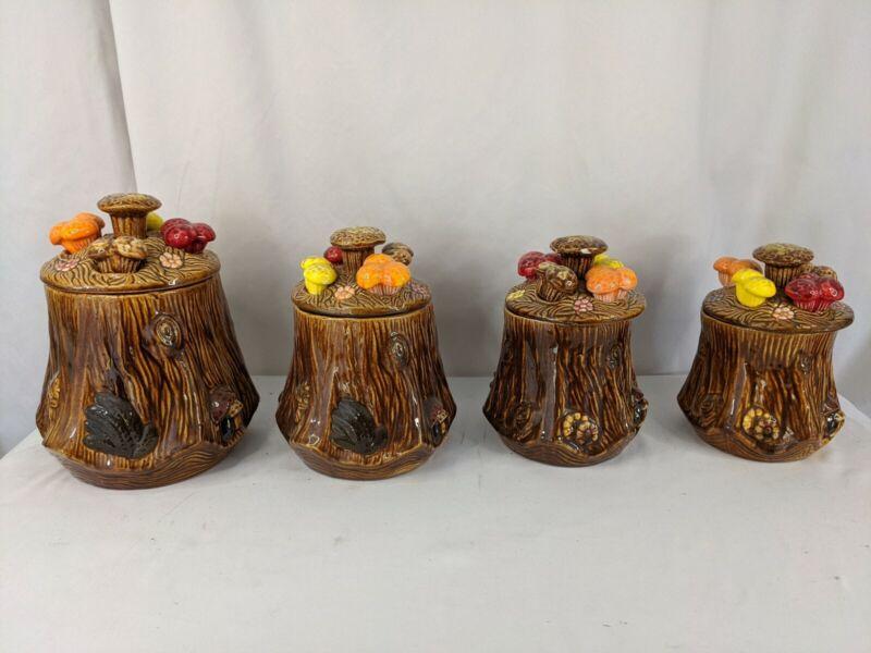 Antique Set of 4 Cookie Jars (Mushroom Theme) Doranne of California 1960 Vintage