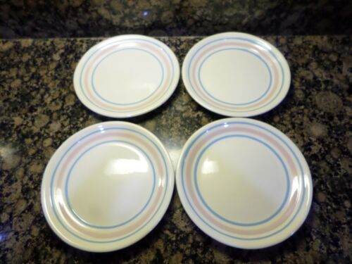 "Set Lot 4 Vintage McCoy 10 1/2"" Plates Pink Blue Stripes USA"