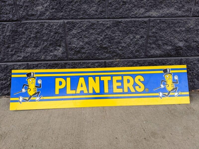 Vintage Planters Mr. Peanut Running, Blue & Yellow Advertising Strip Sign
