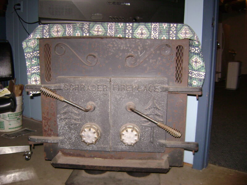 """vintage schrader wood stove/fire place """"great condition"""""""