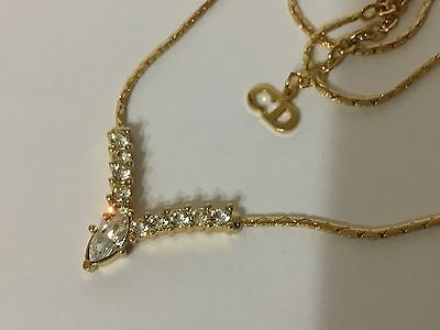 CHRISTIAN DIOR Vintage Gold Tone Crystal Statement Necklace Haute Couture