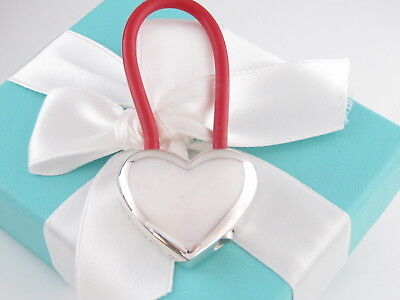 New Tiffany & Co Silver Red Rubber Heart Keychain Packaging Box Pouch