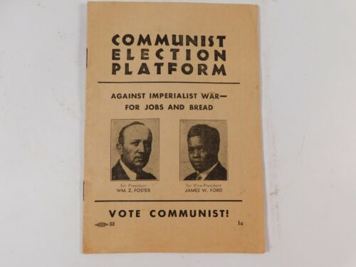 1932 Communist Election Platform Booklet First African American Vice President