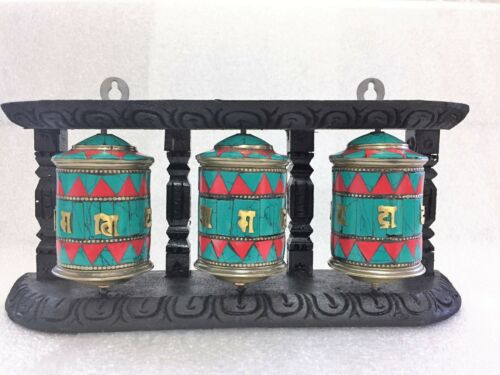 Tibetan,Wall Hanging Prayer Wheel,Turquoise Coral Tibetan Prayer, by thamel Mart