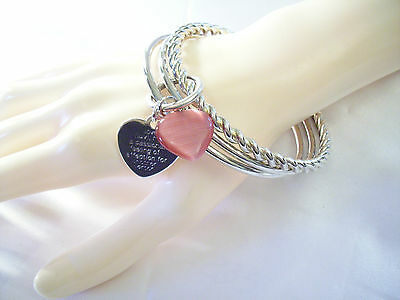 PEARLY PINK GLASS Heart Silver Tone BANGLE Bracelet  Engraved Definition LOVE](Costumes Definition)