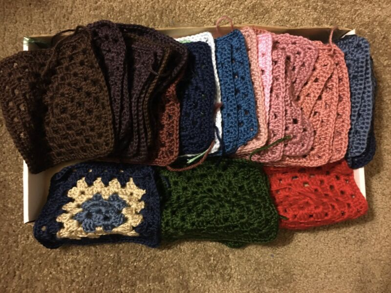 LOT of 32 Soft Granny Squares Afghan Blanket Starter Caron Simply Soft