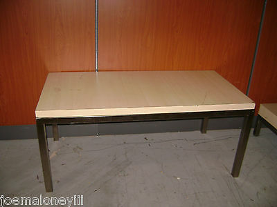 Retail Display Contemporary Table Blonde Color Wood Laminate Steel Table