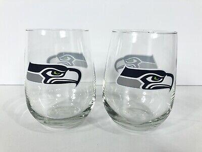 Seahawks Wine Glasses (Seattle Seahawks NFL Stemless Wine Glasses Tumblers Man Cave)