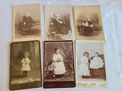 Lot of 6 Cabinet Card Photos, Cute Little Kids Portraits, TENN,TX,MO,ILL
