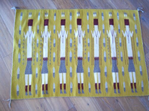 NAVAJO CORN PEOPLE WEAVING RUG WALL HANGING Mustard Gray Red Feathers 30 X 45