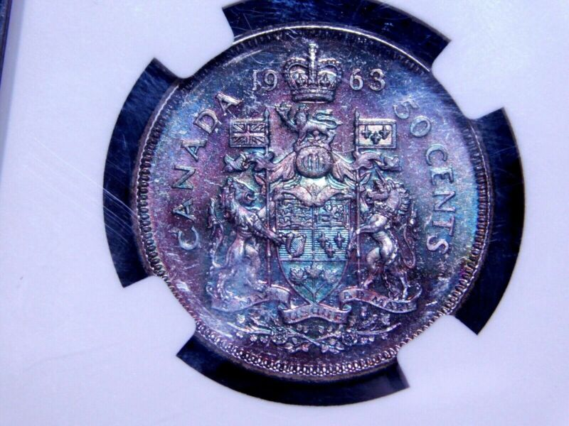 1963 Canada Half Dollar 50c NGC Graded MS64 Silver Coin