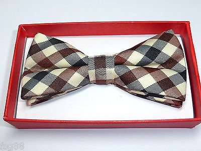 - Children Kids Boy Toddler Pet Baby Child Brown Beige Black Scott Plaid Bow Tie